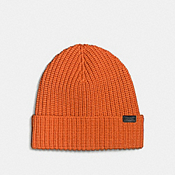 MERINO WOOL RIB KNIT HAT - ORANGE - COACH F86553