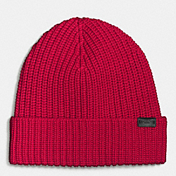 MERINO WOOL RIB KNIT HAT - RED - COACH F86553