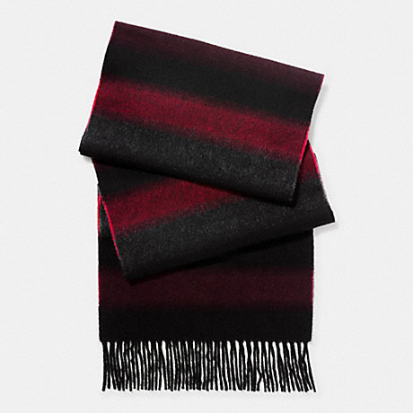 COACH f86554 CASHMERE BLEND OMBRE STRIPE SCARF BURGUNDY/BLACK