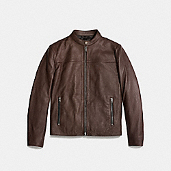 LEATHER RACER JACKET - MAHOGANY - COACH F86594
