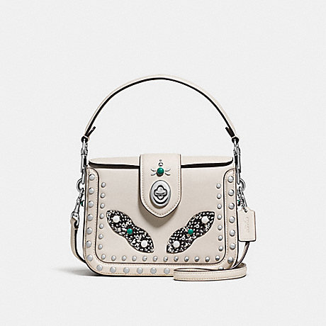 COACH f86731 PAGE CROSSBODY WITH WESTERN RIVETS AND SNAKESKIN DETAIL SILVER/CHALK