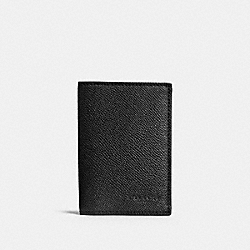 COACH BIFOLD CARD CASE IN CROSSGRAIN LEATHER - BLACK - F86763