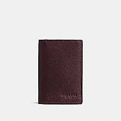 COACH BIFOLD CARD CASE IN CROSSGRAIN LEATHER - OXBLOOD - F86763
