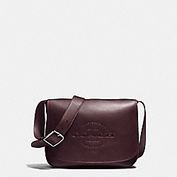 HUDSON MESSENGER IN NATURAL SMOOTH LEATHER - f86778 - BLACK ANTIQUE NICKEL/OXBLOOD