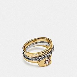 SIGNATURE STONE MIX RING SET - SILVER/GOLD - COACH F86782
