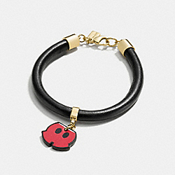 MICKEY SHORTS LEATHER CHARM BRACELET - GOLD/BLACK - COACH F86790