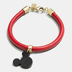 MICKEY EARS LEATHER CHARM BRACELET - f86793 - GOLD/RED