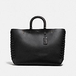 COACH ROGUE TOTE WITH COACH LINK DETAIL - BLACK/BLACK COPPER - F86810