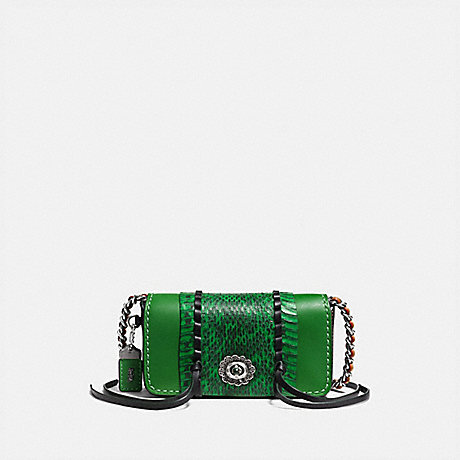 COACH DINKIER WITH WHIPSTITCH SNAKESKIN - KELLY GREEN/LIGHT ANTIQUE NICKEL - F86819