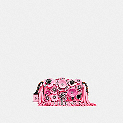 DINKIER WITH WILD TEA ROSE FRINGE - NEON PINK/LIGHT ANTIQUE NICKEL - COACH F86850