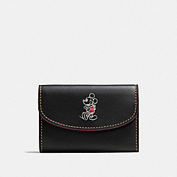 KEY CASE IN GLOVE CALF LEATHER WITH MICKEY - f86908 - ANTIQUE NICKEL/BLACK