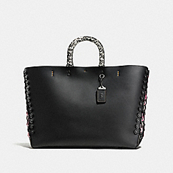 COACH ROGUE TOTE WITH SNAKESKIN COACH LINK DETAIL - Black/Pink/Black Copper - F86919