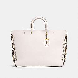 ROGUE TOTE WITH SNAKESKIN COACH LINK DETAIL - OL/CHALK BEECHWOOD MULTI - COACH F86919