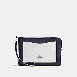 COACH CORNER ZIP WRISTLET IN COLORBLOCK LEATHER - SILVER/MIDNIGHT - F86924