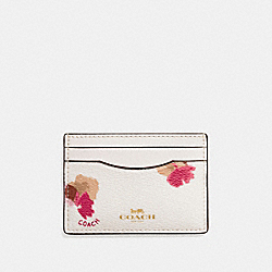 FLAT CARD CASE IN FIELD FLORA PRINT COATED CANVAS - f86925 - IMITATION GOLD/CHALK MULTI