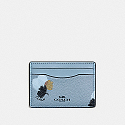 FLAT CARD CASE IN FIELD FLORA PRINT COATED CANVAS - f86925 - SILVER/CORNFLOWER