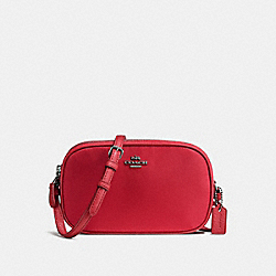 CROSSBODY POUCH IN NYLON - f87093 - BLACK ANTIQUE NICKEL/TRUE RED
