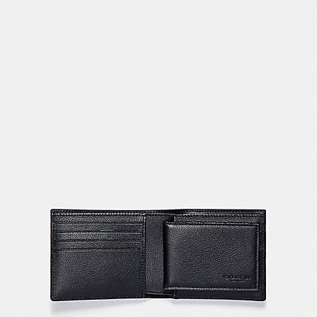 COACH f87191 3-IN-1 WALLET IN SMOOTH CALF LEATHER WITH VARSITY PATCHES BLACK