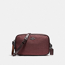 COACH CROSSBODY POUCH IN LEGACY JACQUARD - BLACK ANTIQUE NICKEL/OXBLOOD 1 - F87217