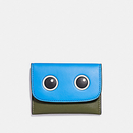 COACH EYES CARD POUCH IN GLOVETANNED LEATHER - SILVER/OLIVE MULTI - f87219