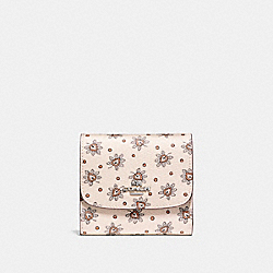 COACH SMALL WALLET IN FOREST BUD PRINT COATED CANVAS - SILVER/CHALK MULTI - F87223
