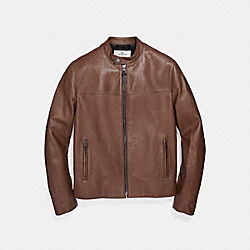 COACH LEATHER RACER JACKET - DARK FAWN - F87432