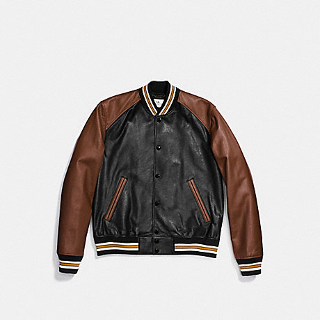 COACH LEATHER VARSITY JACKET - BLACK/DARK SADDLE - F87443