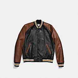 LEATHER VARSITY JACKET - BLACK/DARK SADDLE - COACH F87443