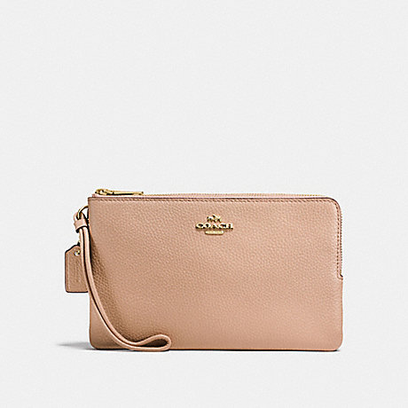 COACH DOUBLE ZIP WALLET IN POLISHED PEBBLE LEATHER - IMITATION GOLD/NUDE PINK - f87587