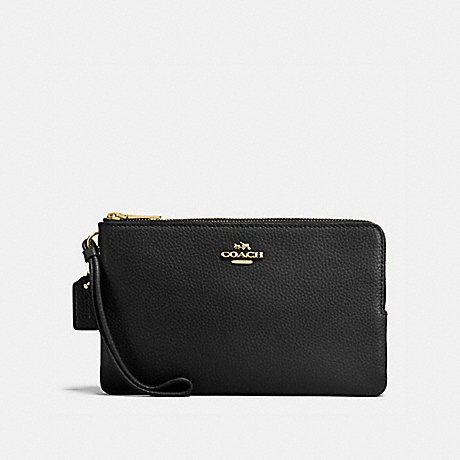 COACH DOUBLE ZIP WALLET - BLACK/LIGHT GOLD - F87587