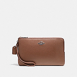 COACH DOUBLE ZIP WALLET IN POLISHED PEBBLE LEATHER - LIGHT GOLD/SADDLE 2 - F87587