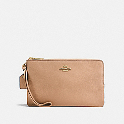 DOUBLE ZIP WALLET - BEECHWOOD/IMITATION GOLD - COACH F87587