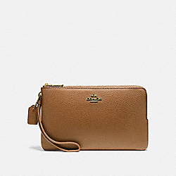 COACH DOUBLE ZIP WALLET - LIGHT SADDLE/IMITATION GOLD - F87587