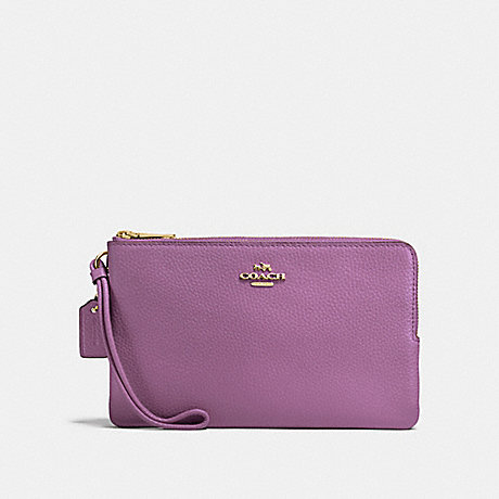 COACH DOUBLE ZIP WALLET - PRIMROSE/LIGHT GOLD - F87587