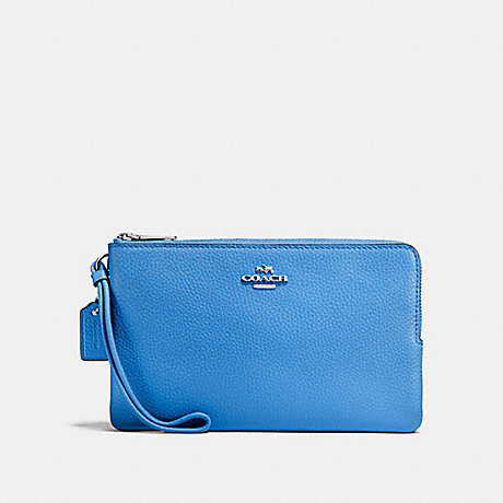 COACH DOUBLE ZIP WALLET - BRIGHT BLUE/SILVER - f87587