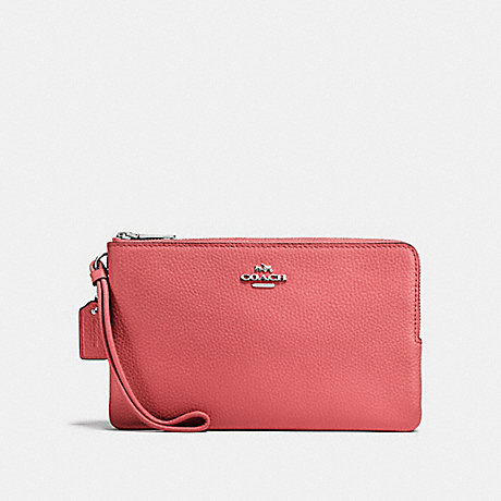 COACH DOUBLE ZIP WALLET - CORAL 2/SILVER - F87587