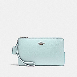 DOUBLE ZIP WALLET IN POLISHED PEBBLE LEATHER - SILVER/AQUA - COACH F87587