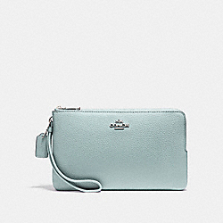 COACH DOUBLE ZIP WALLET - SILVER/BERRY - F87587