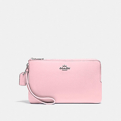 COACH DOUBLE ZIP WALLET - SILVER/BLUSH 2 - f87587