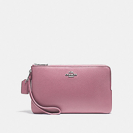COACH DOUBLE ZIP WALLET IN POLISHED PEBBLE LEATHER - SILVER/LILAC - f87587