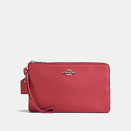 COACH DOUBLE ZIP WALLET - WASHED RED/SILVER - F87587