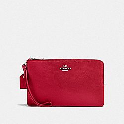 DOUBLE ZIP WALLET - BRIGHT CARDINAL/SILVER - COACH F87587