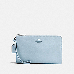 COACH DOUBLE ZIP WALLET - SILVER/PALE BLUE - F87587