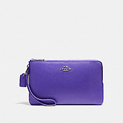 COACH DOUBLE ZIP WALLET IN POLISHED PEBBLE LEATHER - SILVER/PURPLE - F87587