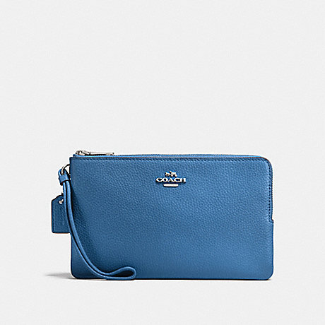 COACH DOUBLE ZIP WALLET - SKY BLUE/SILVER - F87587