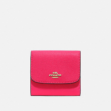 COACH SMALL WALLET - NEON PINK/LIGHT GOLD - F87588