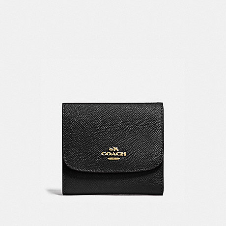 COACH SMALL WALLET - BLACK/IMITATION GOLD - f87588