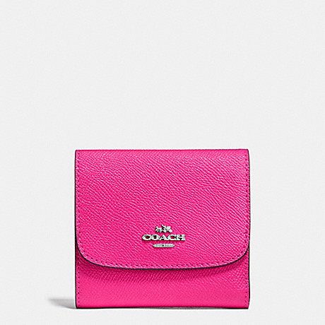 COACH SMALL WALLET IN CROSSGRAIN LEATHER - SILVER/BRIGHT FUCHSIA - f87588