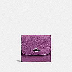 SMALL WALLET IN CROSSGRAIN LEATHER - f87588 - SILVER/MAUVE