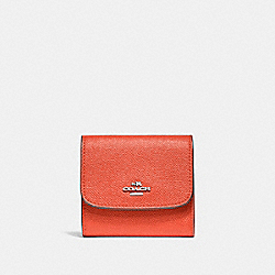 COACH SMALL WALLET - ORANGE RED/SILVER - F87588